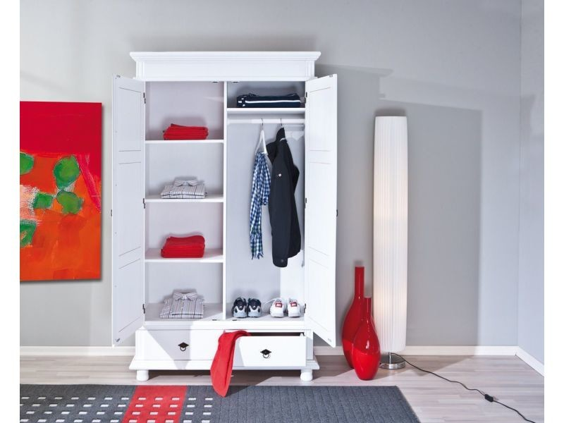 armoire 2 portes et 2 tiroirs en pin massif blanc vente de comforium conforama. Black Bedroom Furniture Sets. Home Design Ideas
