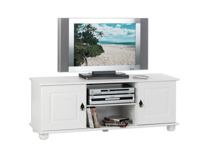 Meuble banc tv vintage belfort pin lasuré blanc - Vente de IDIMEX ...