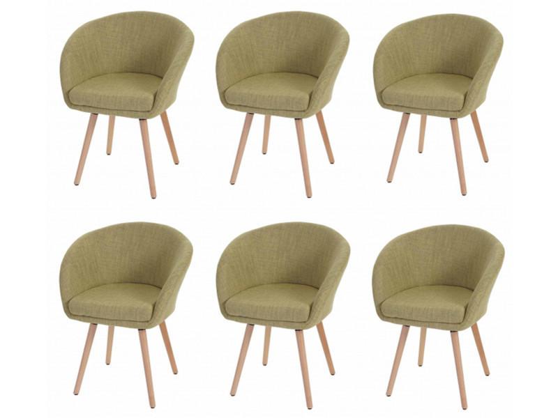 Lot de 6 chaises de salle à manger en textile coloris vert clair - dim : h 80 x 61 x p 56 cm -pegane-