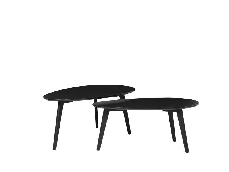 Lot de 2 tables basses noires fly ii 77079