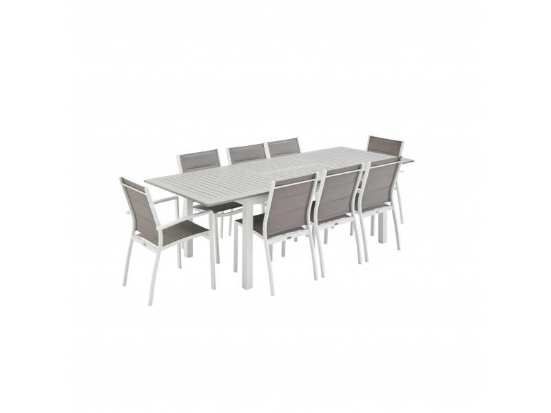 Salon de jardin - chicago blanc / taupe - table extensible 175/245cm avec rallonge et 8 assises en textilène