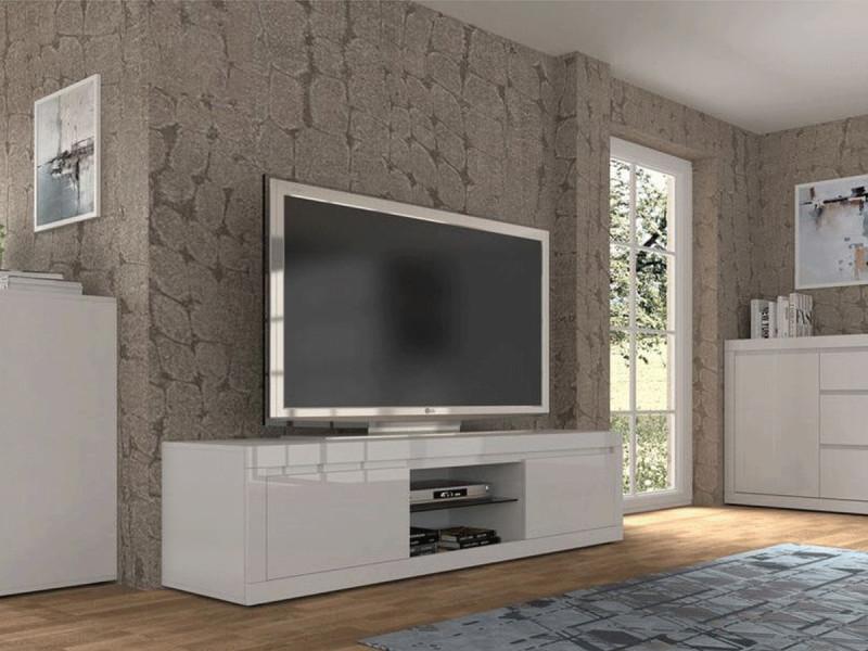 Bobochic meuble tv 180 cm bello blanc brillant