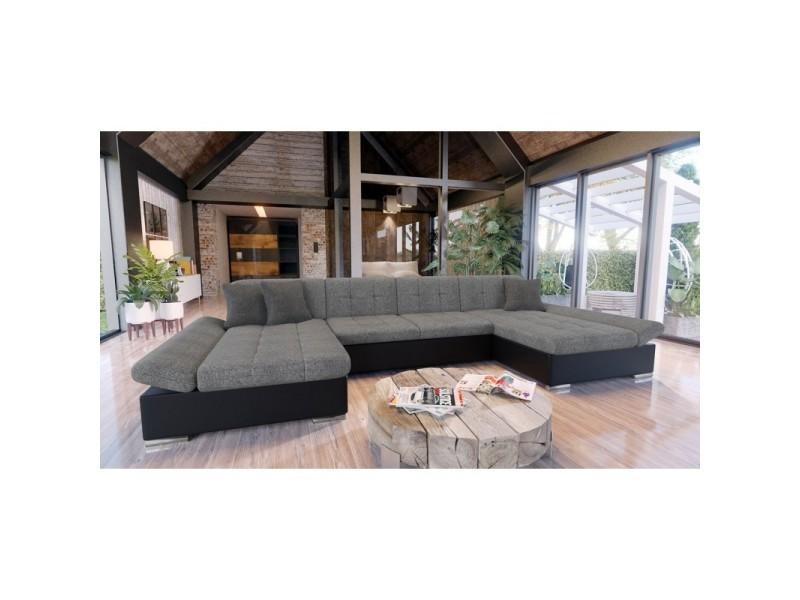 Canapé d'angle convertible alon gris et noir