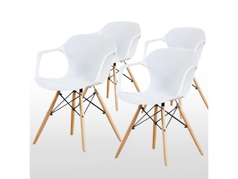 Lot de 4 chaises blanches alecia - inspiration scandinave