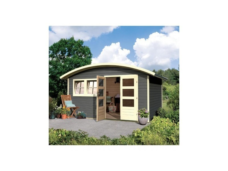 abri de jardin toit rond 11 96m en bois vitrifi gris 28mm friedland karibu vente de abri. Black Bedroom Furniture Sets. Home Design Ideas