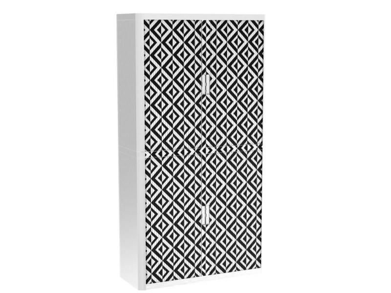 Armoire de bureau métalique porte coulissante h 2m - asymétrie