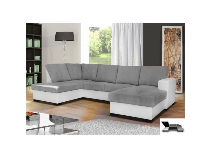 Canapé d'angle convertible oara 6 places gris et blanc TENDENCIO