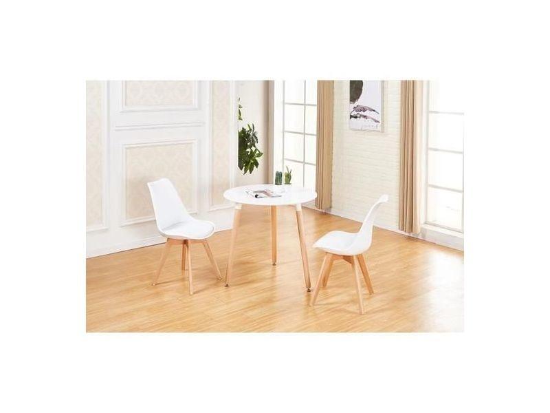 Table à manger ronde moderne de 2 à 4 personnes blanc en bois hêtre massif table +2 blanc chaises-54*54*82cm-design scandinave