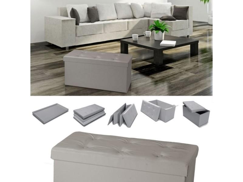 banc coffre rangement pvc taupe 76x38x38 cm pliable. Black Bedroom Furniture Sets. Home Design Ideas