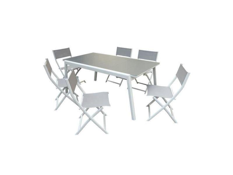 Salon de jardin - ensemble table chaise fauteuil de jardin cool ensemble repas de jardin - table a allonge en alu blanc + 6 chaises pliantes en toile enduite - l 170 / 230 cm