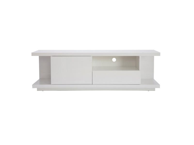 Meuble tv design blanc laqué brillant l150 cm kary