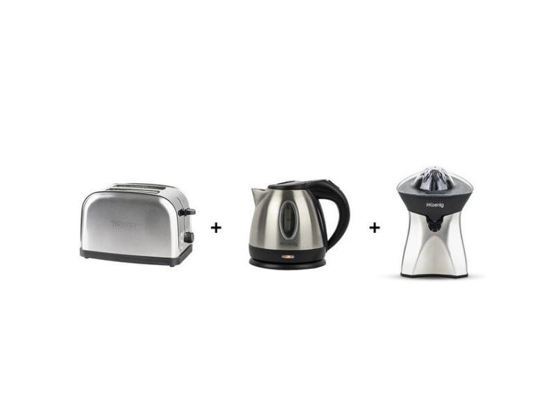 Ensemble petit dejeuner toasteur bouilloire presse agrumes tos7 bo12 agr60