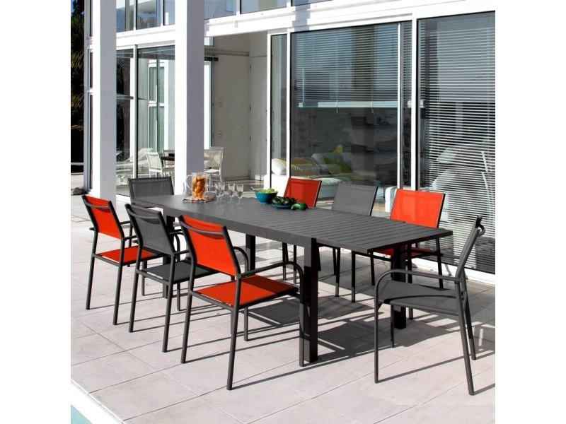Table de jardin extensible 268cm neiva grise vente de ensemble table et chaise conforama - Table grise conforama ...