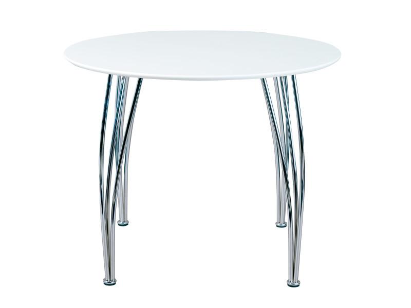 Table à manger cellini ronde blanc mat pieds métal