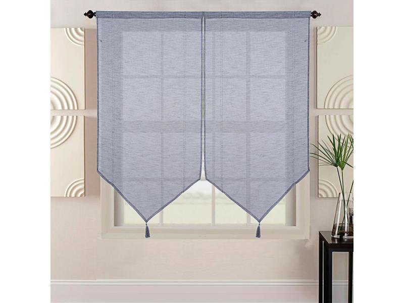 Paire de vitrage uni - gris - 2x60x160cm