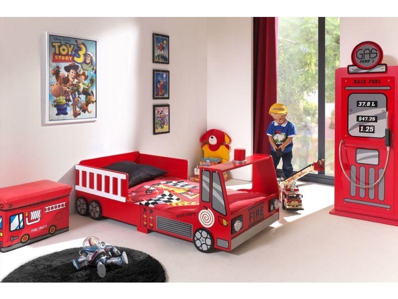 Ensemble 2 Pieces Pour Chambre Enfant Avec Lit Camion Pompier 70x140
