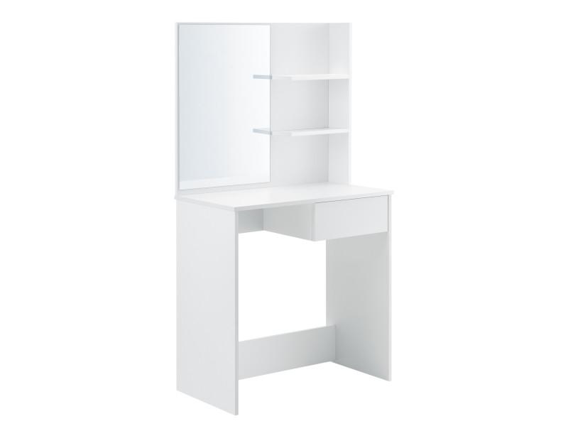 Coiffeuse design avec miroir tiroir étagères commode de coiffure stylée panneau de particules mélaminé 141 x 75 x 40 cm blanc [en.casa]