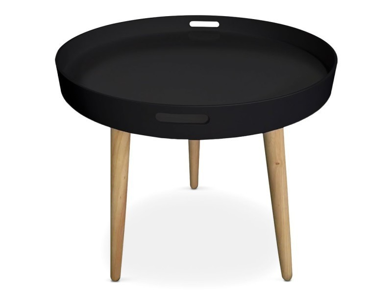 table d 39 appoint ronde style scandinave avec plateau noir. Black Bedroom Furniture Sets. Home Design Ideas