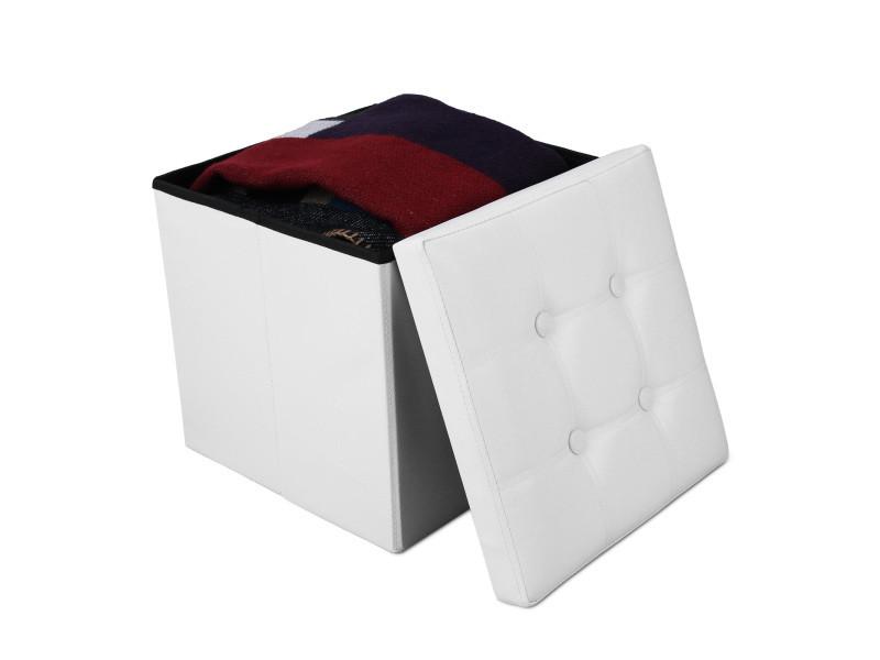 Ottoman avec espace de stockage, banc pliant, 38 x 38 x 38 cm, blanc, finition piquée et capitonnée, charge maximale: 150 kg 3700778708302