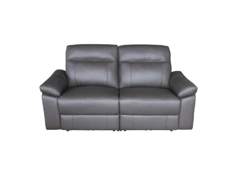 Leonara canape 3 places dont 2 relax electriques - cuir marron - l 204 x p 96 x h 102 cm LEONARA3RMMARR