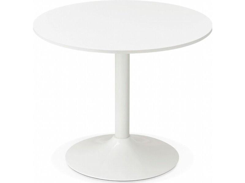 table ronde bois blanc rekon ot00270wh vente de table conforama. Black Bedroom Furniture Sets. Home Design Ideas