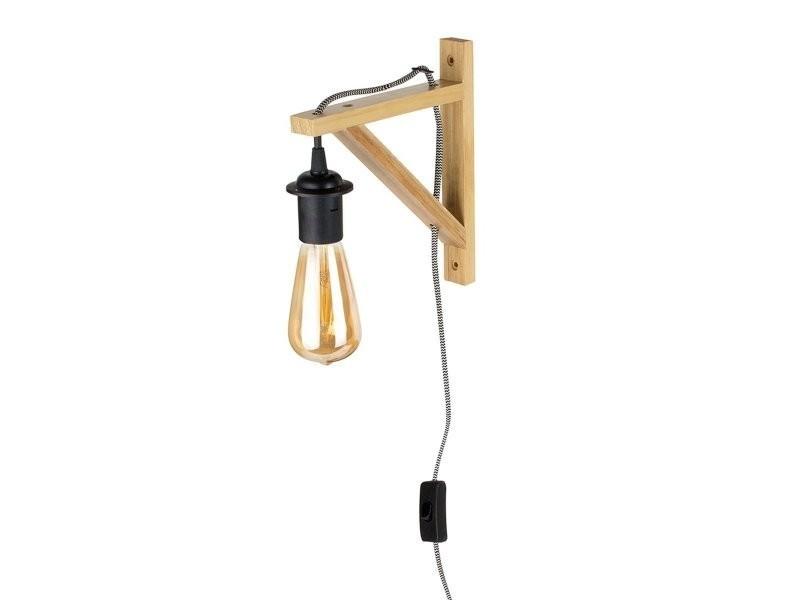 Lampe murale suspension bois naturel câble noir et blanc