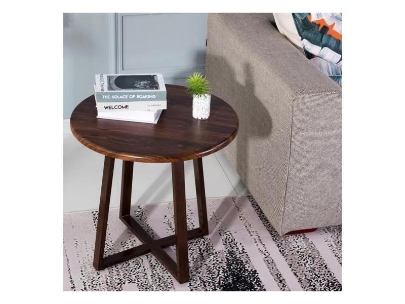 Tables basse scandinave café tables gigognes en bois table dd'extrémité avec pied en métal, marron foncé 60*60*55cm
