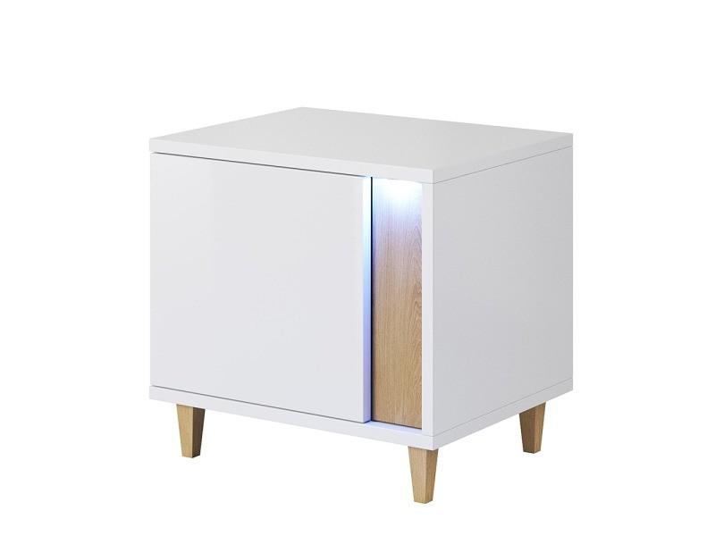 Table de chevet / table de nuit - MUDIEN - 40 cm - blanc / effet chêne - avec led - côté gauche - design scandinave