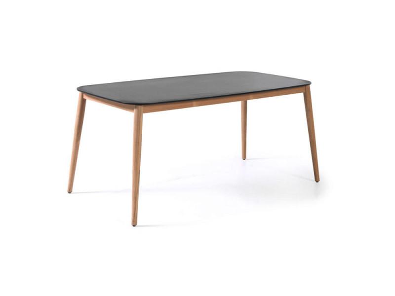 Table en teck et duranite® noir 213 x 100 cm kimito