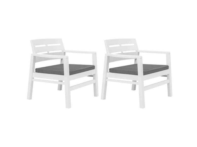 Icaverne - salons de jardin gamme salon de jardin 3 pcs plastique blanc