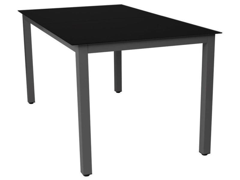 Table de jardin aluminium noir et verre 147 cm mobilier de jardin ...