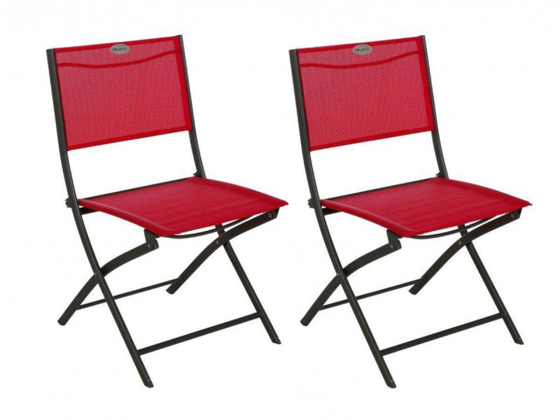 Lot de 2 chaises de jardin pliante métal modula framboise / graphite - hesperide