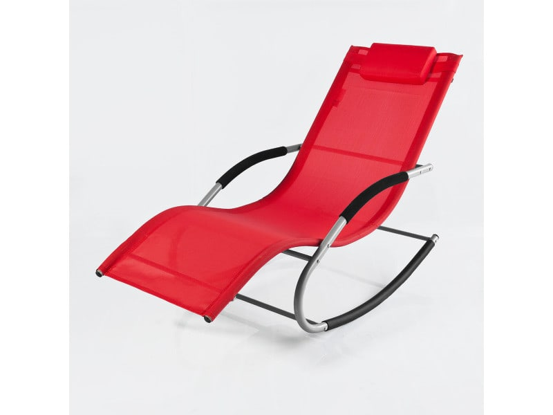 Fauteuil à bascule chaise longue transat de jardin avec ...