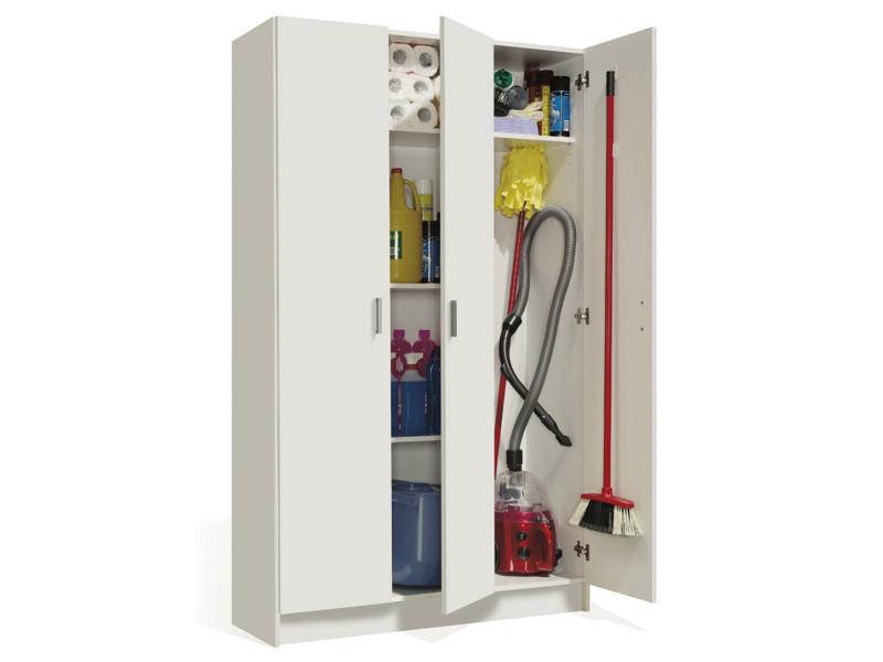 armoire rangement nettoyage 3 portes en m lamine coloris blanc dim h180 x l108 8 x p37 cm. Black Bedroom Furniture Sets. Home Design Ideas