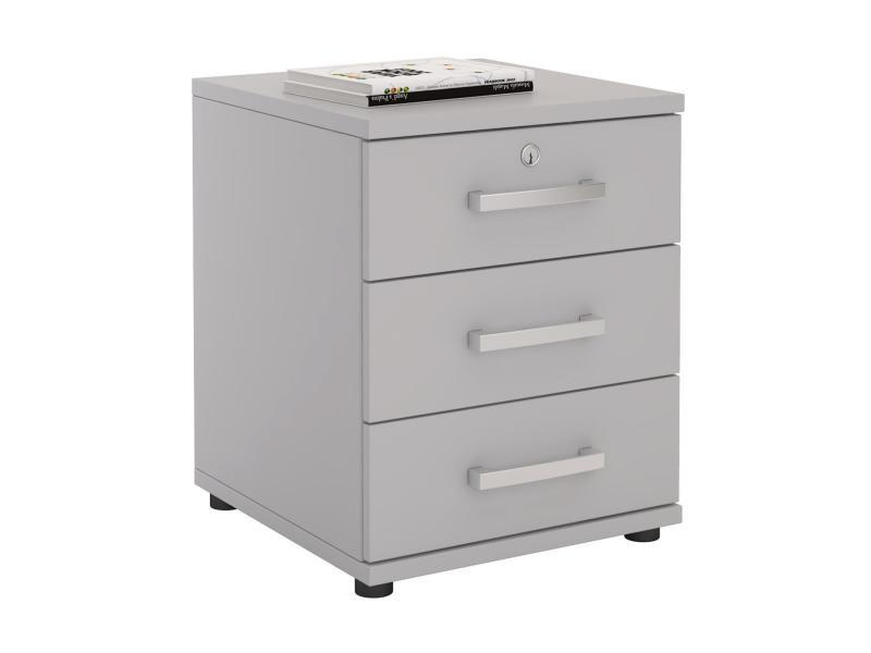 caisson de bureau yves meuble de rangement avec 3 tiroirs en m lamin gris clair mat vente. Black Bedroom Furniture Sets. Home Design Ideas