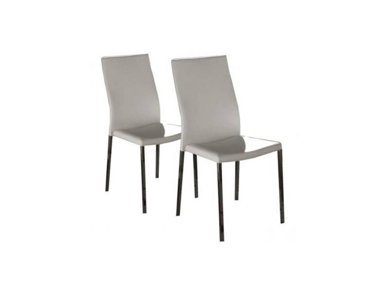 Lot de 2 chaises design hellen revêtement polyuréthane façon cuir blanc et acier chromé 20100836639