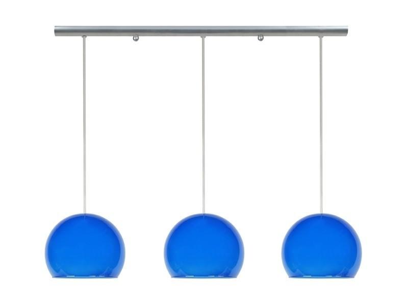 Tosel-palla - lustre plastique et acier transparent et aluminium 3xe27 - abat-jour globe verre bleu - 70 x 80 cm; bleu