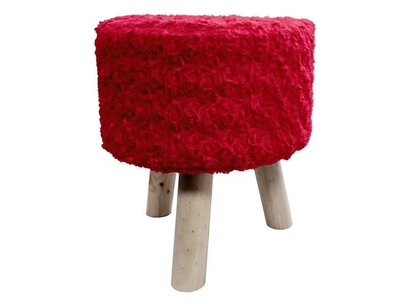 tabouret fourrure himalaya rouge vente de doucceur d interieur conforama. Black Bedroom Furniture Sets. Home Design Ideas