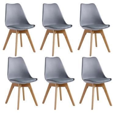 Lot de 6 scandinaves assise chaises grises lorenzo A3R54jL