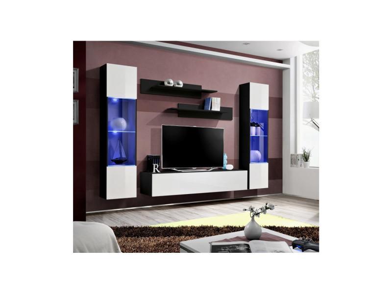 Ensemble meuble tv mural - fly iii - 260 cm x 190 cm x 40 cm - noir et blanc