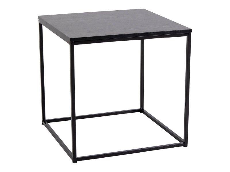 Harald - bout de canapé carré acier et bois noir