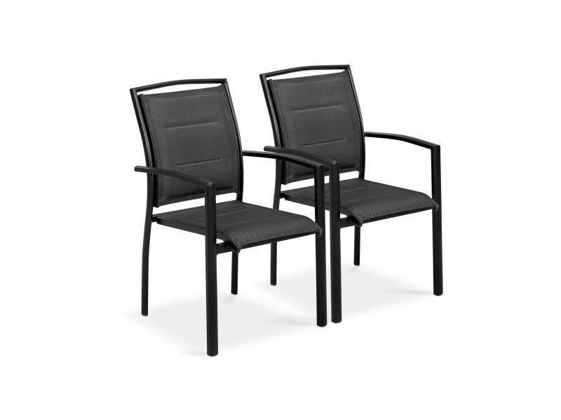 2 fauteuils de jardin noir en aluminium et textilène