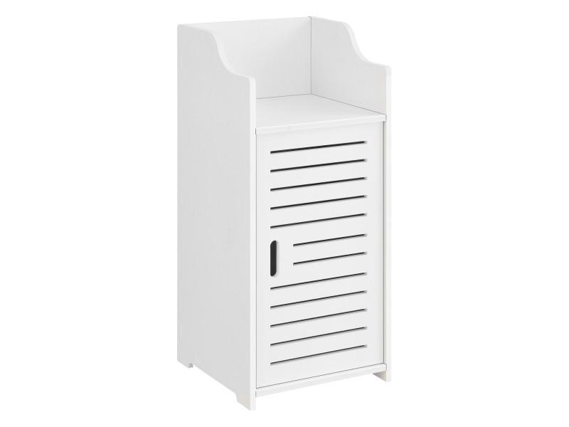 Meuble de rangement pour salle de bain meuble colonne design à porte avec compartiments de stockage bois composite 72 x 32 x 32 cm blanc [en.casa]
