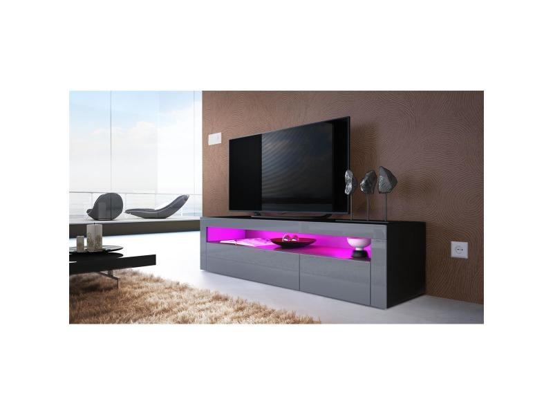 Meuble tv 155 cm noir mat façades gris laqué + led