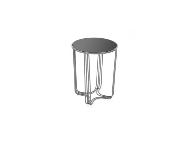 Table d'appoint chromé et verre trempée auxiliar