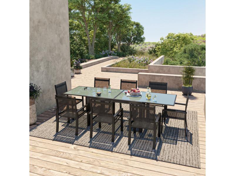 Table de jardin extensible aluminium 140/280cm + 8 fauteuils textilène noir - hara xl