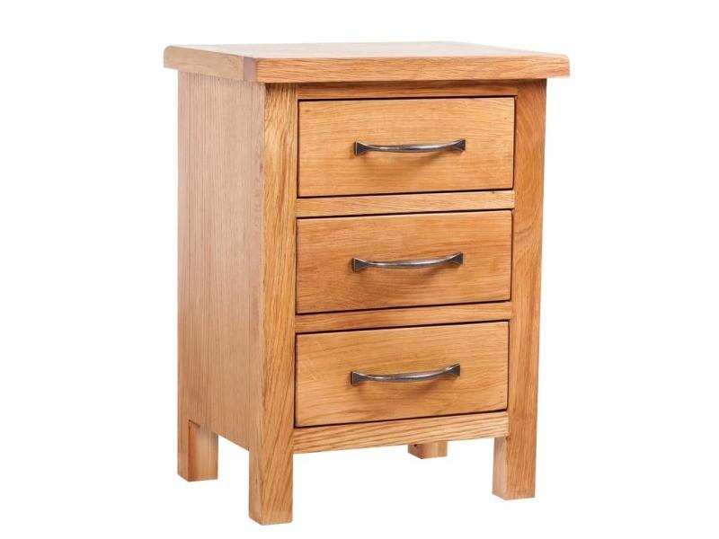 Vidaxl table de chevet avec 3 tiroirs 40x30x54 cm bois de chêne massif 241674