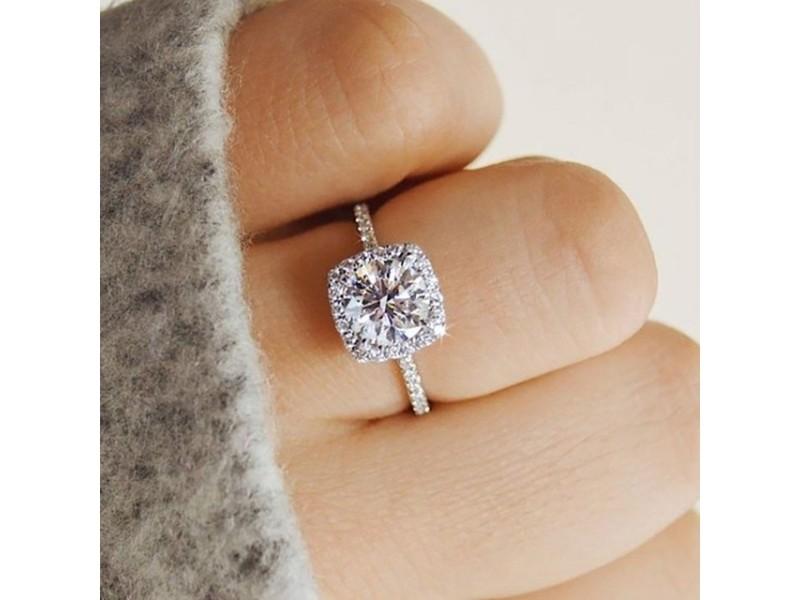 Bague de fiançailles de mariage de Dame anneau argent  cristal BB
