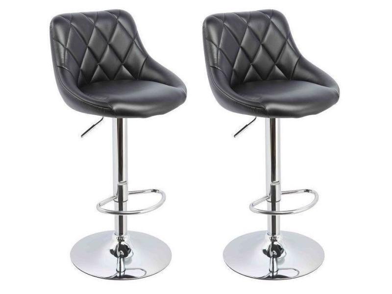 lot de 2 tabourets de bar confortable simili cuir noir. Black Bedroom Furniture Sets. Home Design Ideas