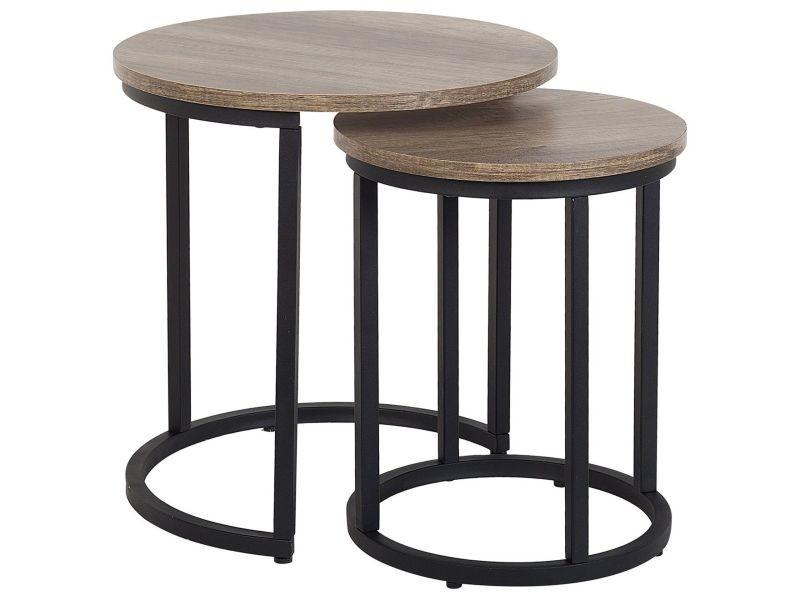 Lot de 2 tables appoint bois foncé/noires dixie 143991